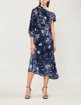 ERDEM Jacobina One Sleeve Velvet Slate Blue / Pink Dress