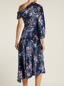 ERDEM Jacobina Tulip Dream Print Velvet Blue Gown