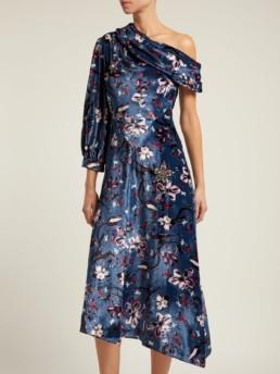 ERDEM Jacobina Tulip Dream Print Velvet Blue Gown