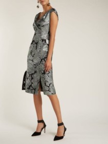 ERDEM Jyoti Floral Jacquard Midi Black Dress