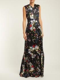 ERDEM Lillian Edith Print Silk Black Gown