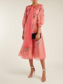 ERDEM Zelena Astaire-Beaded Silk Organza Pink Dress