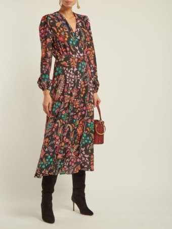 ETRO Elsa Silk Wrap Black / Floral Printed Dress
