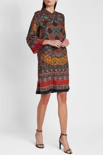 ETRO Printed Wool Mini Red Dress