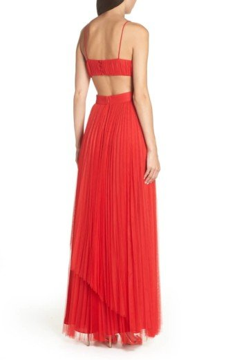 FAME AND PARTNERS Dakota Cutout A-Line Red Gown 2