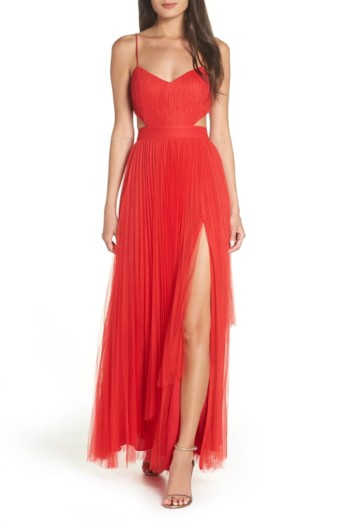 FAME AND PARTNERS Dakota Cutout A-Line Red Gown