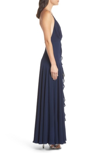 FAME AND PARTNERS The Naya Ruffle Navy Gown