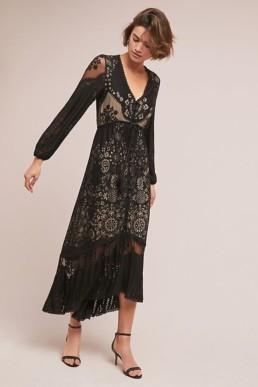 FARM RIO Devore Maxi Black Dress