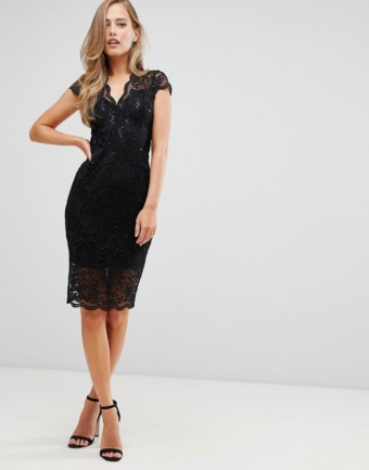 FLOUNCE LONDON Cap Sleeve Scalloped Sequin Lace Midi Black Dress