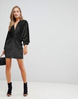 FLOUNCE LONDON Velvet Twist Front Mini Black / Gold Dress