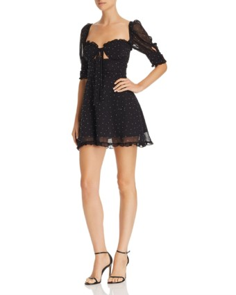 FOR LOVE & LEMONS Lucky Dice Embellished Mini Black Dress