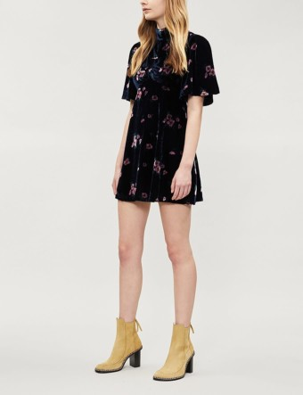 FREE PEOPLE Be My Baby Velvet Mini Navy / Floral Printed Dress
