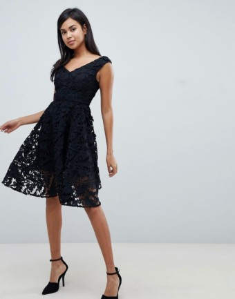 FRENCH CONNECTION Blossom Lace Bardot Black Dress