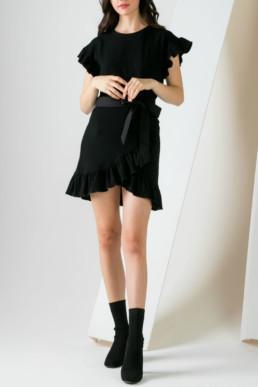 GADO-GADO Ruffle Wrap Black Dress