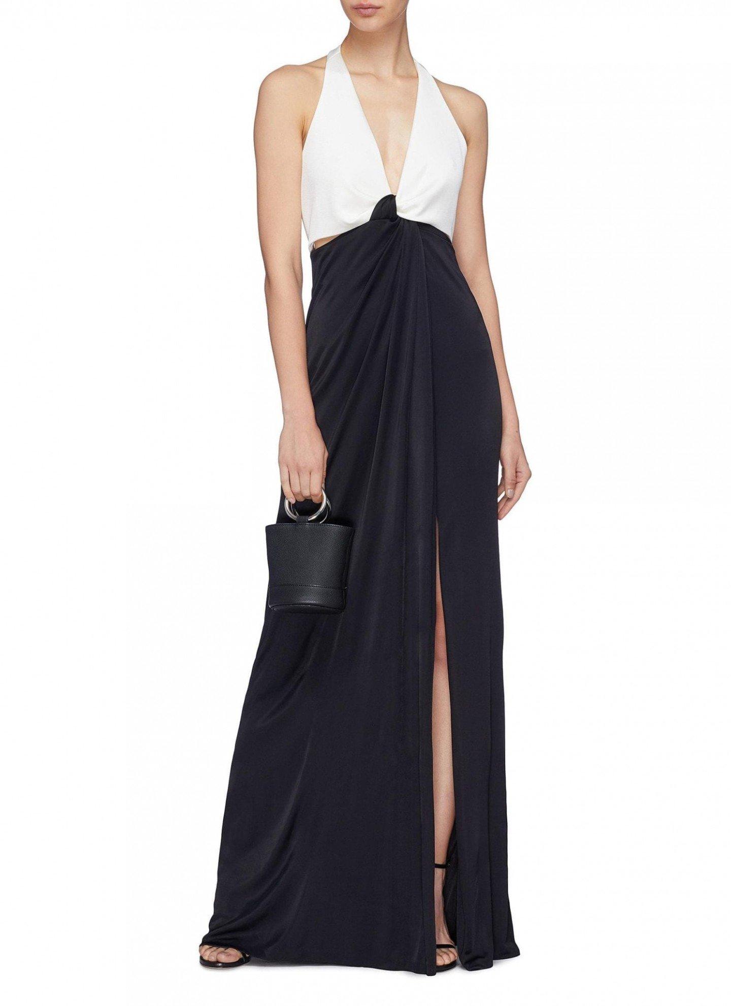 GALVAN LONDON 'Eclipse' Twist Front Cutout Halterneck Black-White Gown