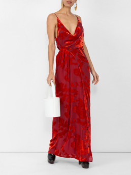 GALVAN Rose Velvet Red Gown