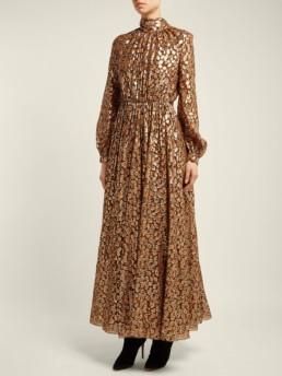 GIAMBATTISTA VALLI Floral Fil-Coupé Silk-Blend Orange Gown