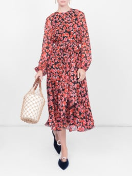 GIAMBATTISTA VALLI Floral Petal Printed Red / Black Dress