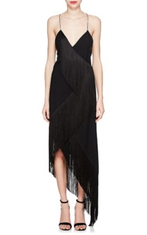 GIVENCHY Cascading-Fringe Wool Cocktail Black Dress