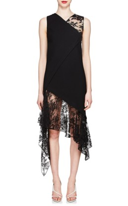 GIVENCHY Mixed-Media Wool Midi Black Dress
