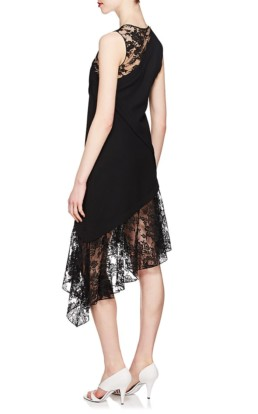 GIVENCHY Mixed-Media Wool Midi Black Dress