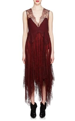 GIVENCHY Silk & Lace Fringed Slip Burgundy Dress