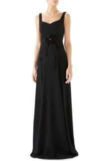 GUCCI Bow Embellished A-Line Black Gown