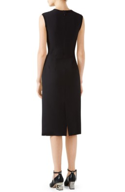 GUCCI Cady Crepe Bow Pencil Black Dress