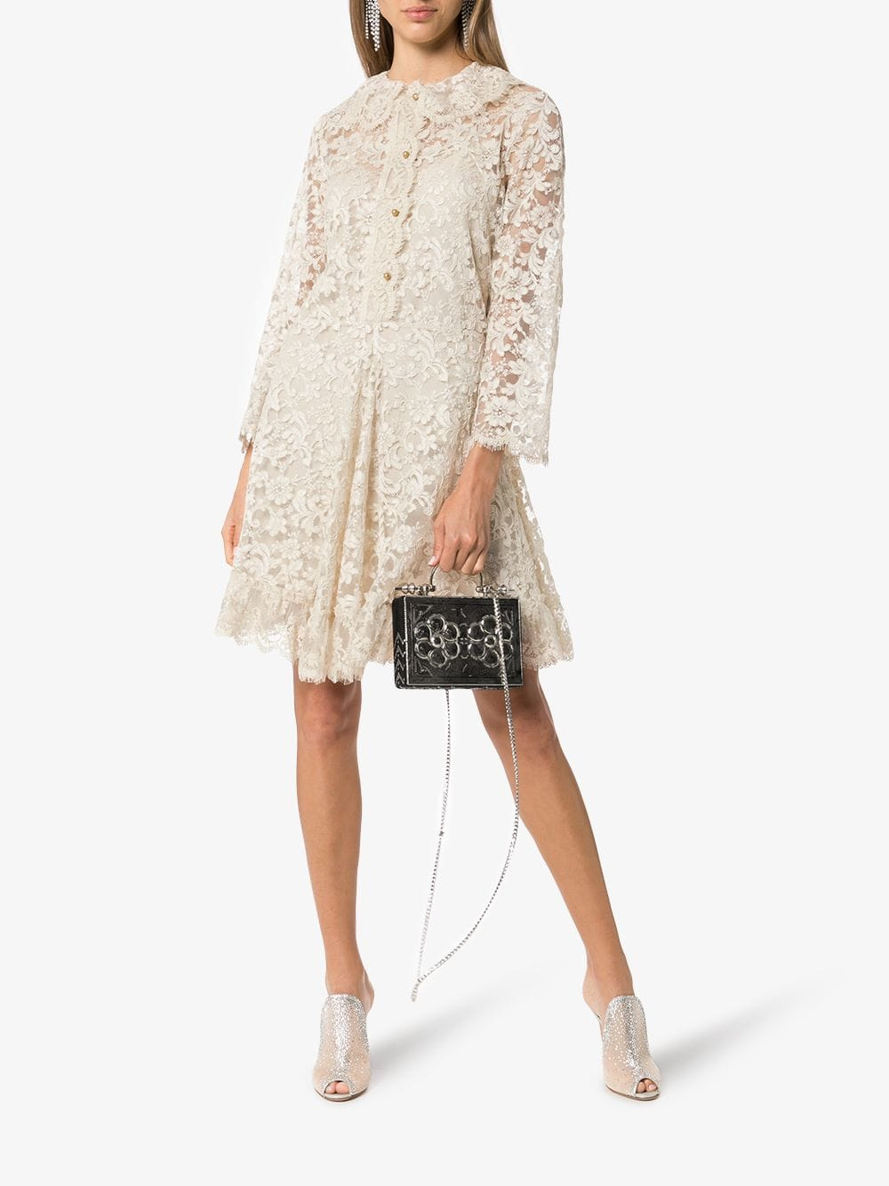 GUCCI Collared Lace Silk Mini Ivory Dress