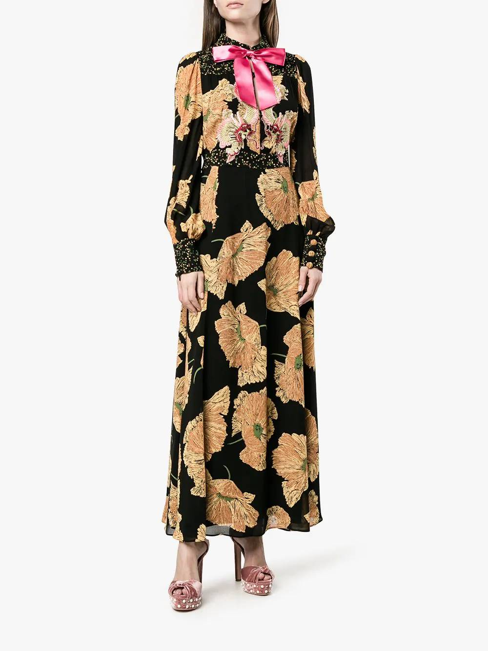 34f316513 GUCCI Poppy Print Black Bow Detail Silk Multi Gown - We Select Dresses