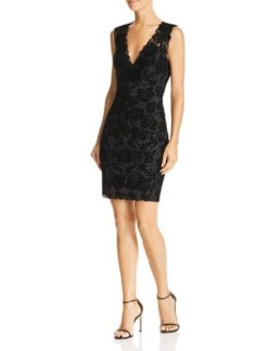 GUESS Drea Sleeveless Flocked-Lace Black Dress