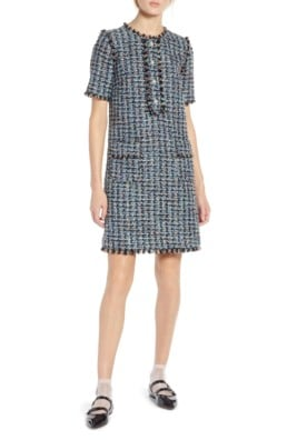 HALOGEN® x Atlantic-Pacific Fringe Tweed Black Multi Dress