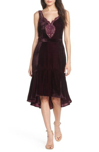 HARLYN Lace Inset Midi Burgundy Dress