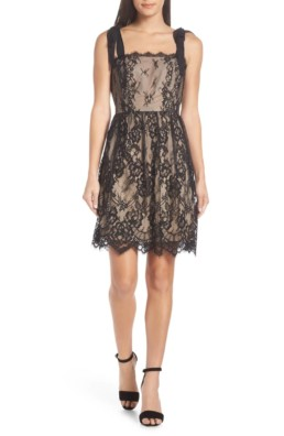 HEARTLOOM Emma Fit & Flare Lace Black Dress
