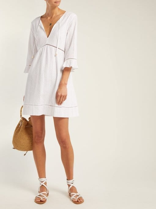 HEIDI KLEIN Palermo Broderie-Anglaise Cotton White Dress