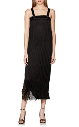 HELMUT LANG Lace-Trimmed Crinkle-Pleated Black Dress