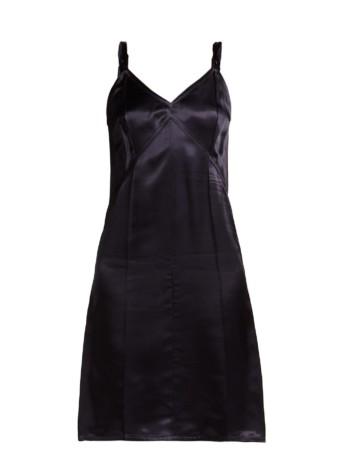 HELMUT LANG V-neck Satin Slip Navy Dress 2