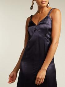 HELMUT LANG V-neck Satin Slip Navy Dress 3