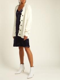 HELMUT LANG V-neck Satin Slip Navy Dress 4