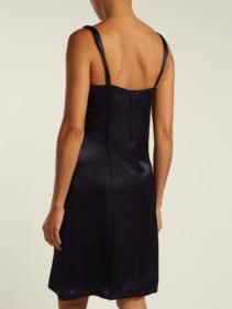 HELMUT LANG V-neck Satin Slip Navy Dress 5