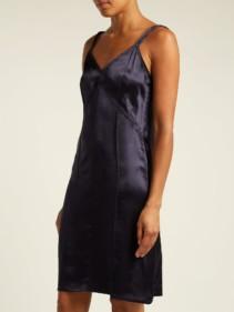 HELMUT LANG V-neck Satin Slip Navy Dress