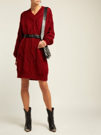 ISABEL MARANT Bev Cable Knit Wool Red Sweater