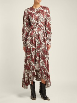 ISABEL MARANT Jorja Paisley Print Silk Blend White Dress
