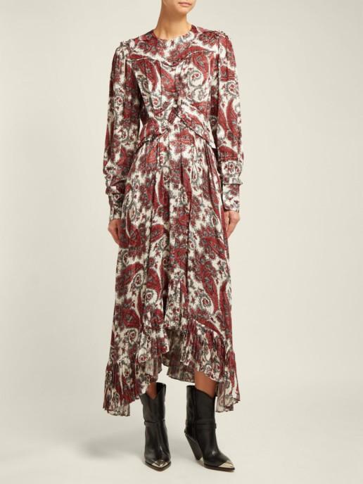 ISABEL MARANT Jorja Paisley Print Silk Blend White Dress