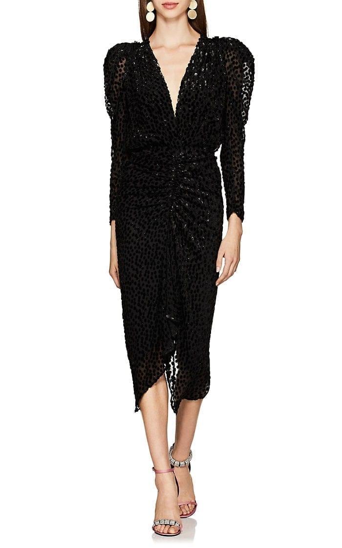 ISABEL MARANT Maray Dotted Fil Coupé Chiffon Black Dress
