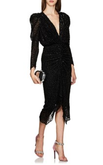 ISABEL MARANT Maray Dotted Fil Coupé Chiffon Black Dress