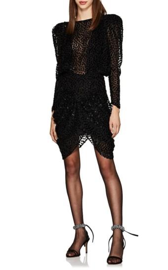 ISABEL MARANT Margaret Dotted Fil Coupé Chiffon Mini Black Dress