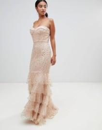 JARLO PETITE Basque Top And Ruffle Hem Glitter Star Tulle Maxi Nude Dress