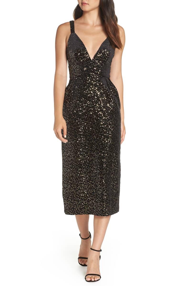 JILL JILL STUART Velvet & Sequin Embellished Midi Black Dress