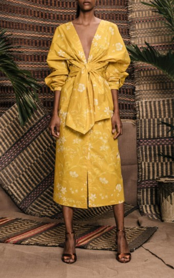 JOHANNA ORTIZ San Bernardo Del Viento Printed Cotton Yellow Dress